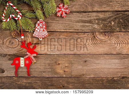 Christmas New Year Holiday Background With Gingerbread Cookies