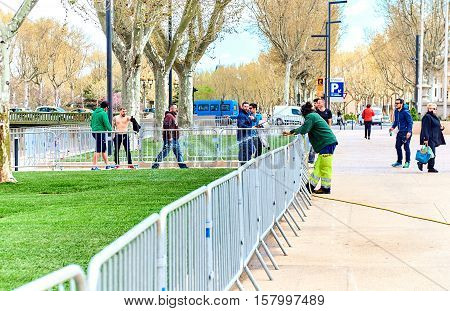Narbonne France - April 8 2016: People walking in a city of Narbonne springtime. Languedoc-Roussillon. France