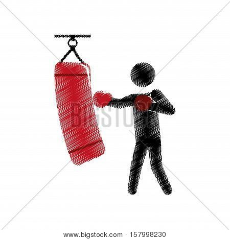 drawing colored silhouette boxer trainer punching bag vector illustration eps 10