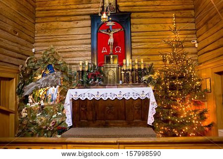 POLAND KALATOWKI - JANUARY 04 2015: Chapel of the monastery of the Congregation of Albertine Sisters in the High Tatras mountains. Congregation founded by St. Albert Chmielewski in the 19th century.