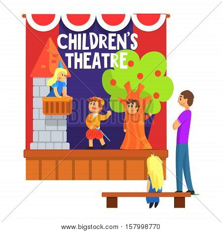Prince Saving Princess From The Tower Scene Performed By Kids In Amateur Theatre With Other Pupils Watching With Teacher. Children Actors Acting On Stage Of School Theatre In A Play For Performance Art Class Colorful Vector Illustration