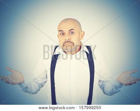Bald Man Shrugging Shoulders I Don't Know Gesture