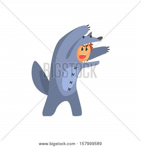 Boy In Costume Of The Wolf Performing In Theatrical Show In Fairy-Tale Red Hood Story. Children Actors Acting On Stage Of School Theatre In A Play For Performance Art Class Colorful Vector Illustration