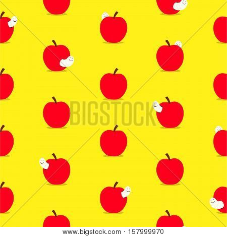 Seamless background pattern of colorful cartoon ripe red apples with worms peeking out on a bright yellow background for print and textile