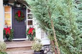 Front door with a Christmas wreath and bows. Also available in vertical.  poster