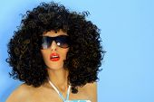 picture of black curly hair  - Model in a big afro wig - JPG