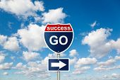 GO to SUCCESS sign on White, fluffy clouds in blue sky collage poster