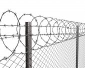 stock photo of barbed wire fence  - Chainlink fence with barbed wire on top closeup isolated on white background - JPG