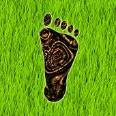 picture of carbon-footprint  - Carbon Footprint Reduction as a Concept Art - JPG