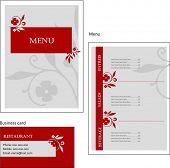 Постер, плакат: Шаблон конструкции Европейское меню и визитная карточка для кафе и ресторан векторный файл вкл