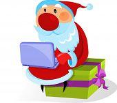 Постер, плакат: Санта Клаус с ноутбуком дополнительных работ такого рода нажмите на мой ник ниже чтобы посетить MY