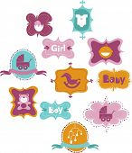 stock photo of sock-monkey  - set of frames with baby icons  - JPG