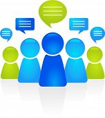 foto of communication people  - Abstract business people figures with speech bubbles - JPG