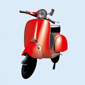 picture of vespa  - An illustration of a red vintage scooter - JPG