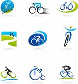 Cycling and bicycles icons