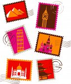 Landmarks stamps collection poster
