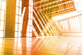image of commercial building  - Orange Abstract Building Wallpaper Background with Interesting Angle - JPG