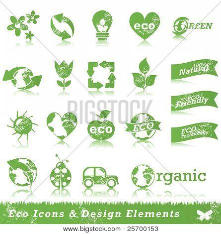 Grunge ecology icon set