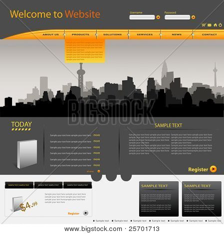 Vector web site design city template
