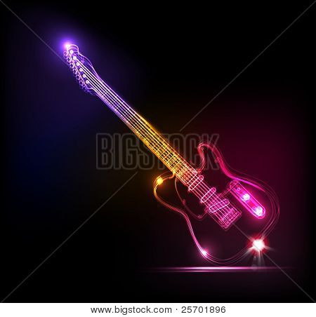 Vector neon guitar, grunge music