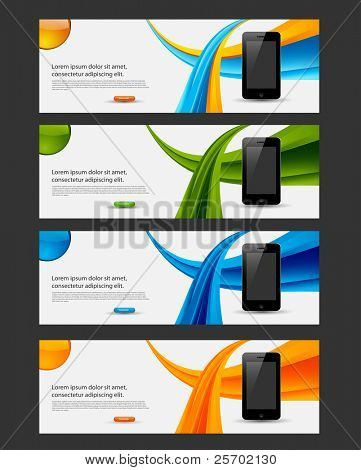 vector website banner, flyer with smart phone