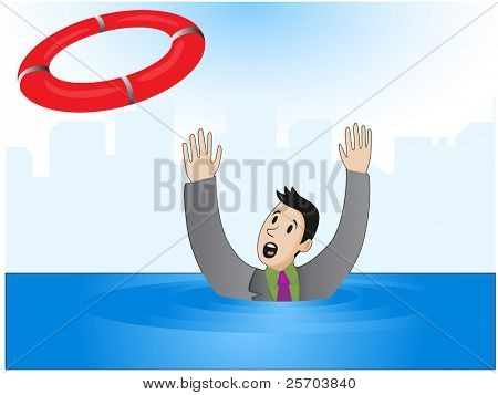 Vector illustration of a businessman who drowns, but he was thrown a lifeline