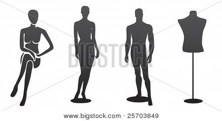 Four silhouettes of mannequin, isolated