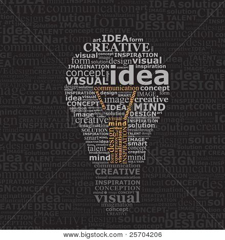 Bulb idea made by typography on black textured background