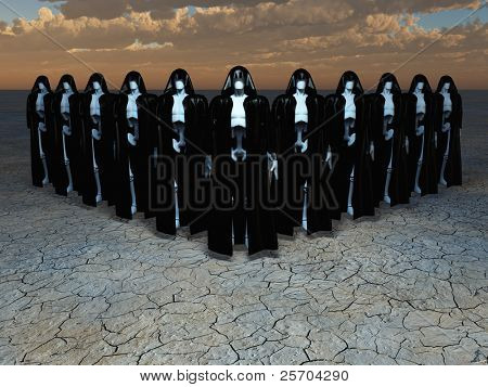 Group of andriods in robes