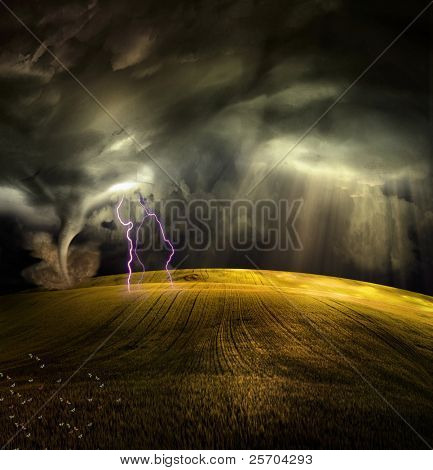 Tornado in stormy landscape