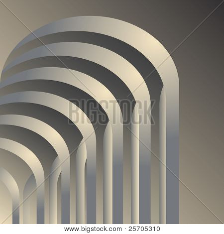 Arches gallery. Abstract architectural space background. Vector illustration.