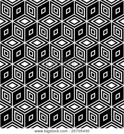 Op art design. Isometric structure. Seamless geometric rhombuses pattern. Vector illustration.