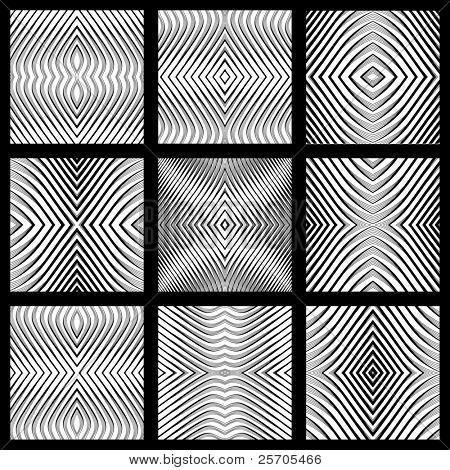 Seamless geometric symmetric designs set. Vector art. No gradient.