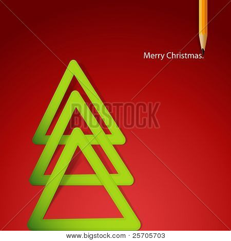 Christmas tree formed from triangular labels paper. Christmas Illustration.