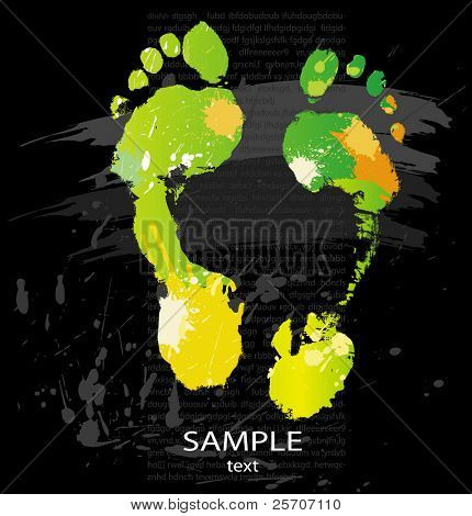 Hand print from color splashes and line brushes. Vector