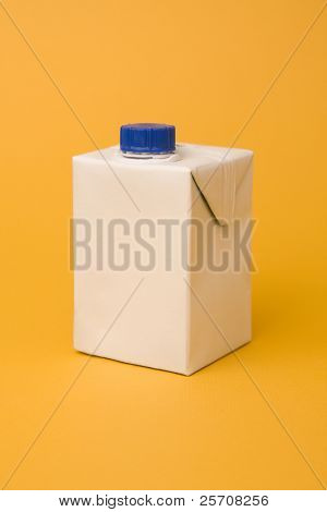 White package model on a yellow background, for new design