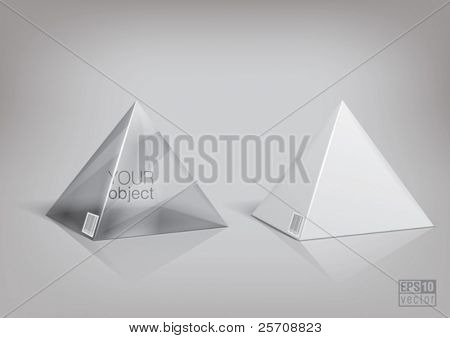 White and transparent  pyramid package for new design. Eps10 vector