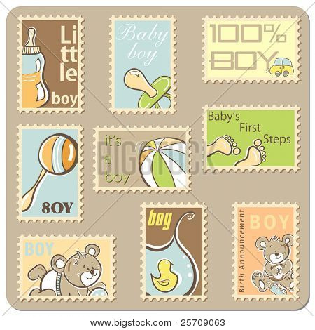 Baby boy announcement card - collection of postal stamps