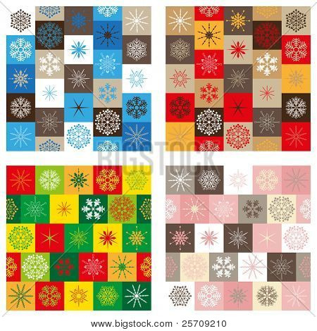 Compilation of four seamless patterns - Christmas edition