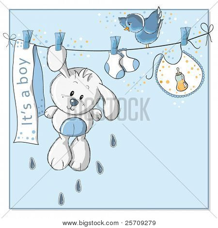 It's a boy - baby announcement card - every object on separate layer