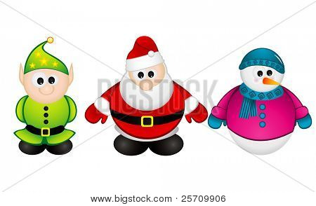 Santa Claus, Elf, Snowman vector illustration