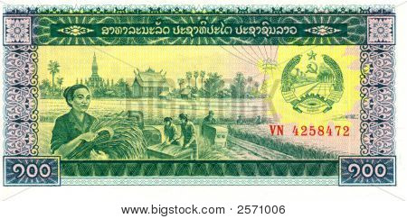 100 Kip Bill Of Laos