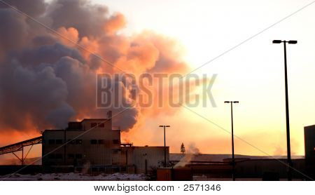 Global Warming Factory At Dawn