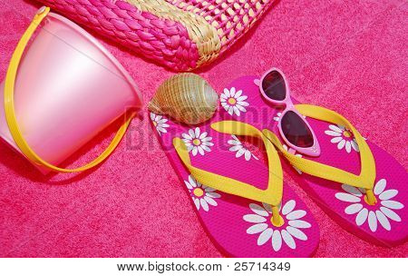 Pink Beach Towel and Flip Flops