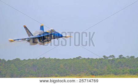 Navy Blue Angel F-18 with Vapor Trails and Wingtip Vortices