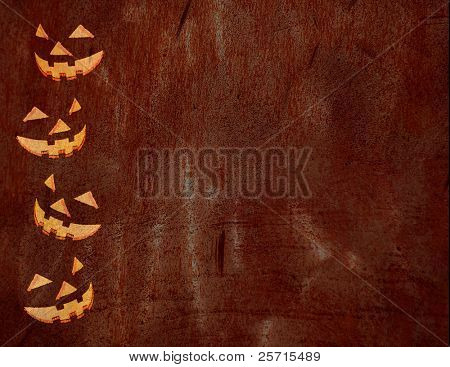 Halloween Template with Jackolantern Faces and Grunge Overlay