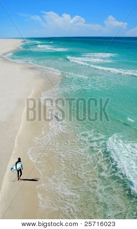 surfer on beach with beautiful ocean