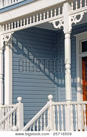 Ornate Porch and Entranceway to Victorian Home