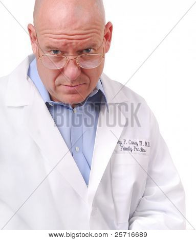 Serious Looking Doctor in White Coat