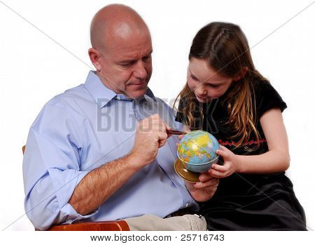 Father Teacher Daughter Geography on Globe